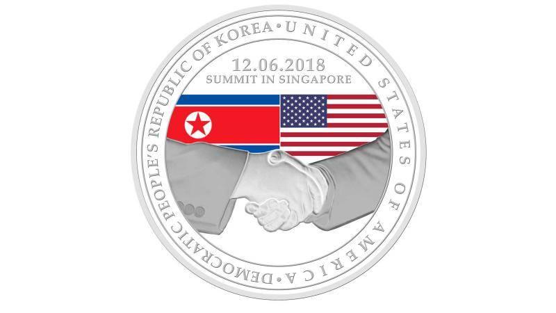 singapur USA zirvesi için madalya bastırdı