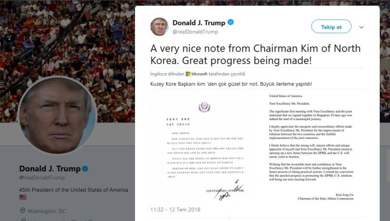 Trum Kuzey Kore liderinden gelen mektubu paylaştı