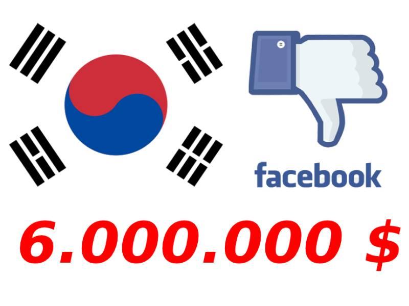 Güney Kore Facebook'a 6 Milyon $ ceza kesti